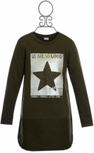 Mayoral Olive Green Star Sweatshirt Dress (Size 8)