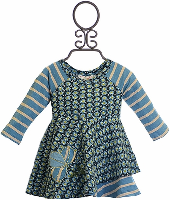 Mimi and Maggie Baby Girls Dress with Daisies in Blue (Size 12Mos)