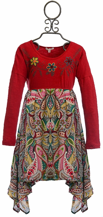 Mimi and Maggie Girls Paisley Dress with Flowers (Size 4)