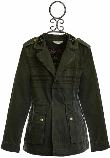 Miss Me Cargo Jacket for Tweens in Olive Green (Size SM 7/8)