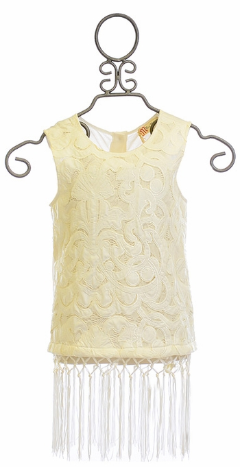 Miss Me Sleeveless Lace Top with Fringe Trim (MD10 & LG10/12)