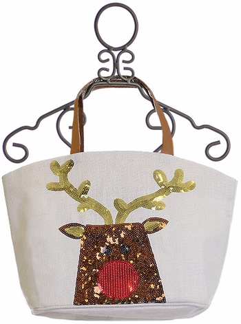 Mud Pie Holiday Sequin Tote for Girls with Reindeer