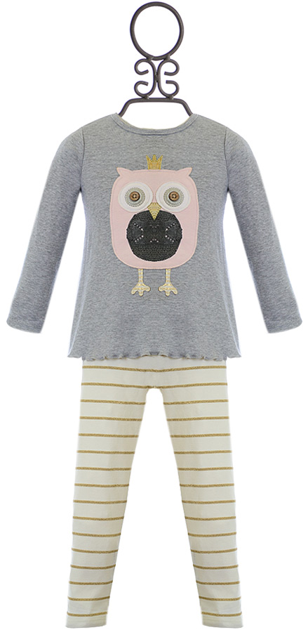 Mud pie owl tunic set for girls in gray size 2t for Owl fish clothing