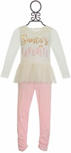 Mud Pie Santa's Favorite Top and Legging in Pink