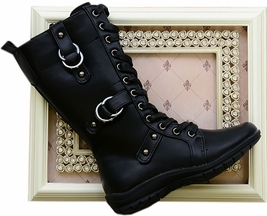 Octavie Combat Boots in Black (11,Youth 1,4)