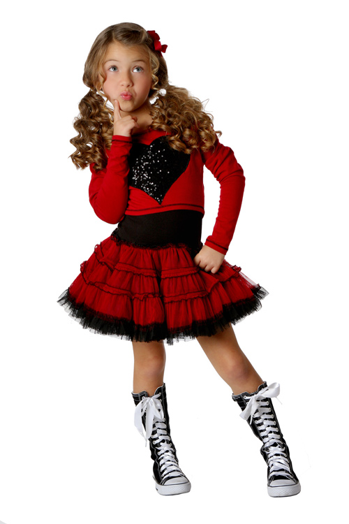 Ooh la la couture girls red dress in flash dance heart for La couture clothing