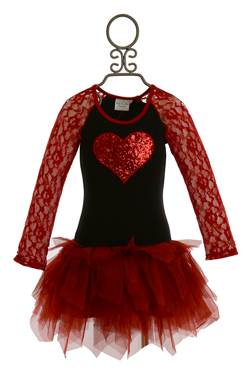 Ooh la la couture red heart lace sleeves dress size 18mos for La couture clothing