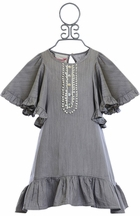 Paper Wings Designer Smock Dress in Gray (4,5,6)