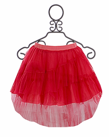 Paper Wings Hot Pink Hi Low Tulle Skirt (Size 2)