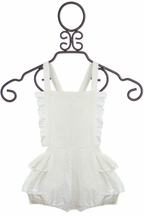 Paper Wings Overall Romper in White Eyelet (Size 12 Mos)