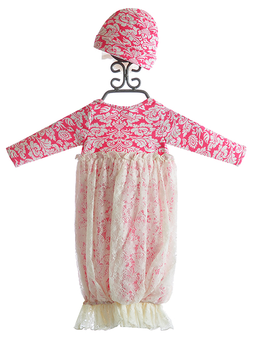 Peaches N Cream Baby Gown for Girls in Raspberry and Lace