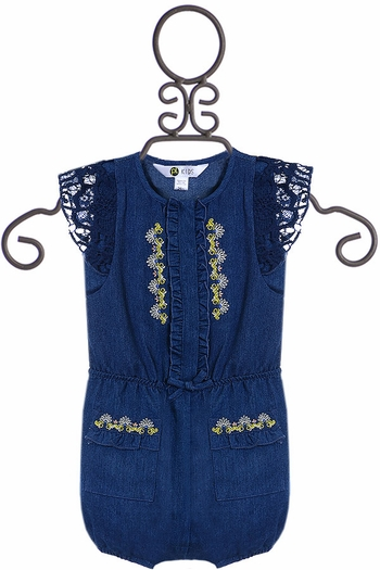 Petit Lem Infant Romper with Crochet in Navy (Size 18Mos)