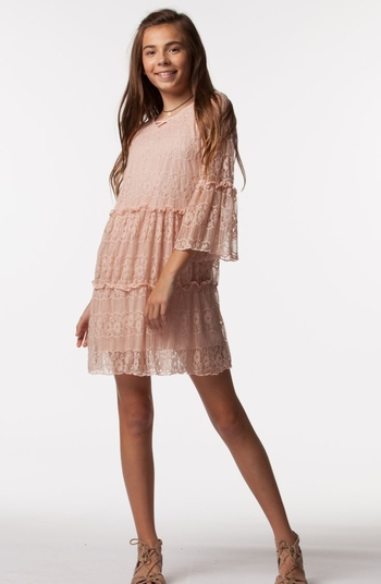 PPLA Girls Lace Dress in Blush