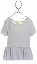 PPLA Gray Peplum Top for Tweens (SM7/8 & LG14/16)