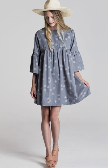 Rylee and Cru Womens Bell Sleeve Dress Sand Dollar (Size MD 6/8)