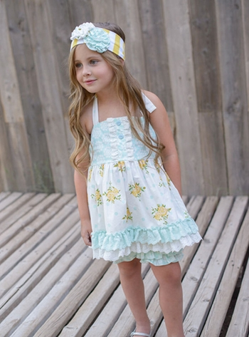Serendipity Cottage Chic Halter Tunic Shorties (12Mos & 18Mos)