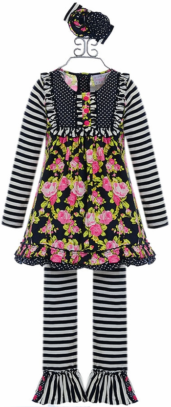 Serendipity Girls Floral Tunic with Leggings (Size 12Mos)