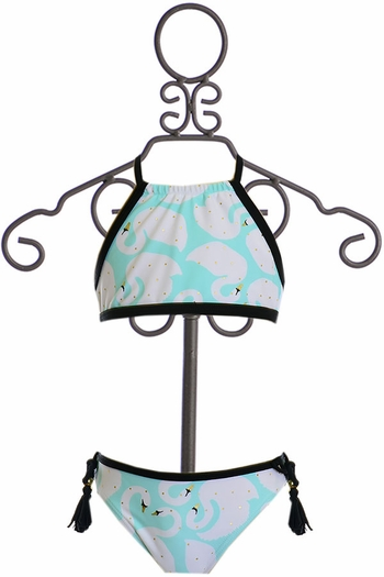 SnapperRock Bikini Turquoise and White Swans (Size 4)