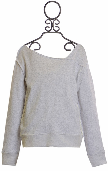 Splendid Girls Gray Sweatshirt with Lace