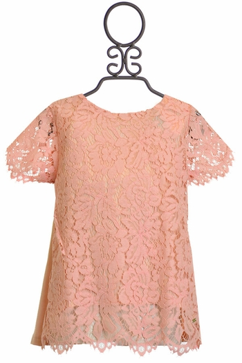 Tea Party for Two Coral Lace Top (8 & 10)