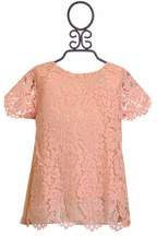 Tea Party for Two Coral Lace Top (8,10,12)