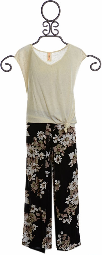Tru Luv Floral Pant and Knot Tie Top (Size 8)