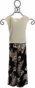 Tru Luv Floral Pant and Knot Tie Top (Size 8) Alternate View