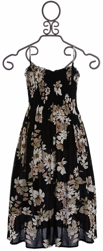 Tru Luv Tween Black Floral Maxi Dress (4 & 8)