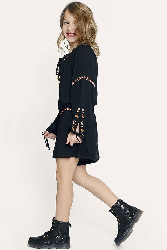Truly Me Black Romper With Tassels For Girls 4 6 6x