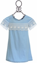 Truly Me Denim Dress with Lace (Size 8)