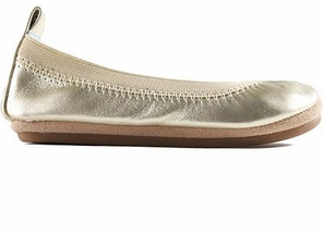 Yosi Samra Kids Flats Sammie in Gold (12 & 3Y)