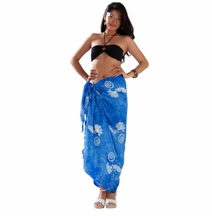 1 World Sarongs Womens Mono Colored Batik Sarong in Blue