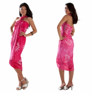 1 World Sarongs Womens Mono Colored Batik Sarong in Hot Pink
