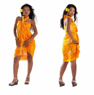1 World Sarongs Womens Mono Colored Batik Sarong in Yellow