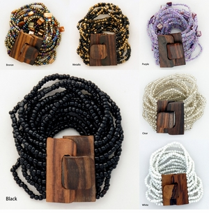 13 Row Bracelet with Wood Toggle (Set of 6)