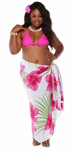 3 SARONGS - Hawaiian PLUS SIZE Sarong Pink / Green / White-NO RETURNS