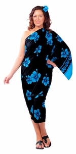 3 SARONGS - Hibiscus Flower PLUS SIZE Sarong in Aqua Blue / Black-NO RETURNS