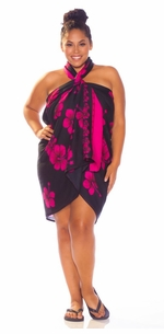 3 SARONGS - Hibiscus PLUS SIZE Sarong in Black W/ Pink-NO RETURNS