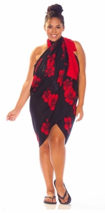 3 SARONGS - Hibiscus PLUS SIZE Sarong in Red / Black-NO RETURNS