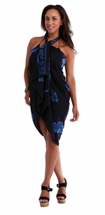 3 SARONGS - Hibiscus Top Quality Sarong in Black / Blue PLUS Size-NO RETURNS