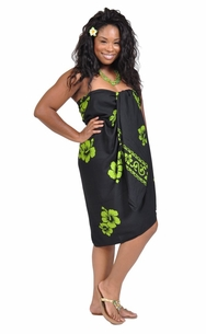 3 SARONGS - Hibiscus Top Quality Sarong in Lime Green / Black PLUS Size-NO RETURNS