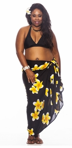 3 SARONGS - Plumeria PLUS SIZE Sarong in Black / Yellow-NO RETURNS
