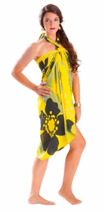 "5 SARONGS - Floral Sarong """"Bumblebee"""" Yellow and Black-NO RETURNS"