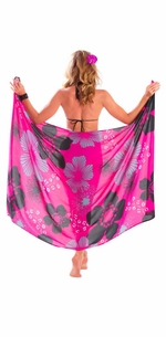 "5 SARONGS - Floral Sarong """"Pink Temptation"""" Magenta and Black-NO RETURNS"