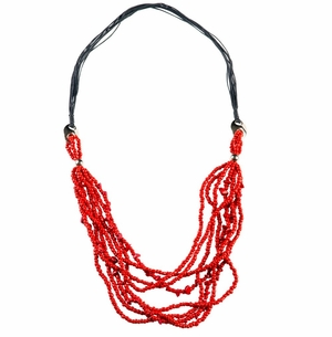 8 Beaded String Necklace with Metal Accents in Red
