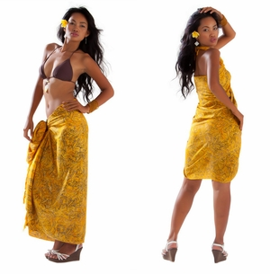 Abstract Filigree Sarong in Yellow