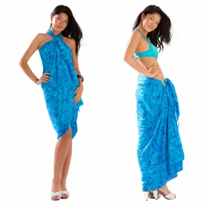 Abstract Leaf Sarong in Turquoise