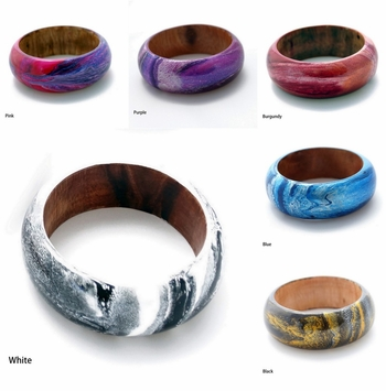 Abstract Painted Wood Bangle (Set of 5)