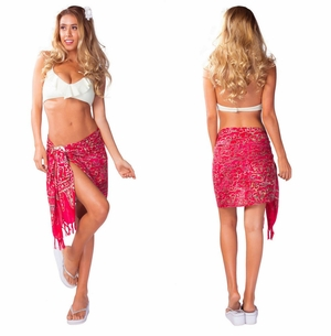 Abstract Scrolls Half Sarong in Red