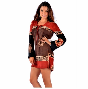 Abstract Tiki Tunic Cover-Up in Black/Brown/Burgundy